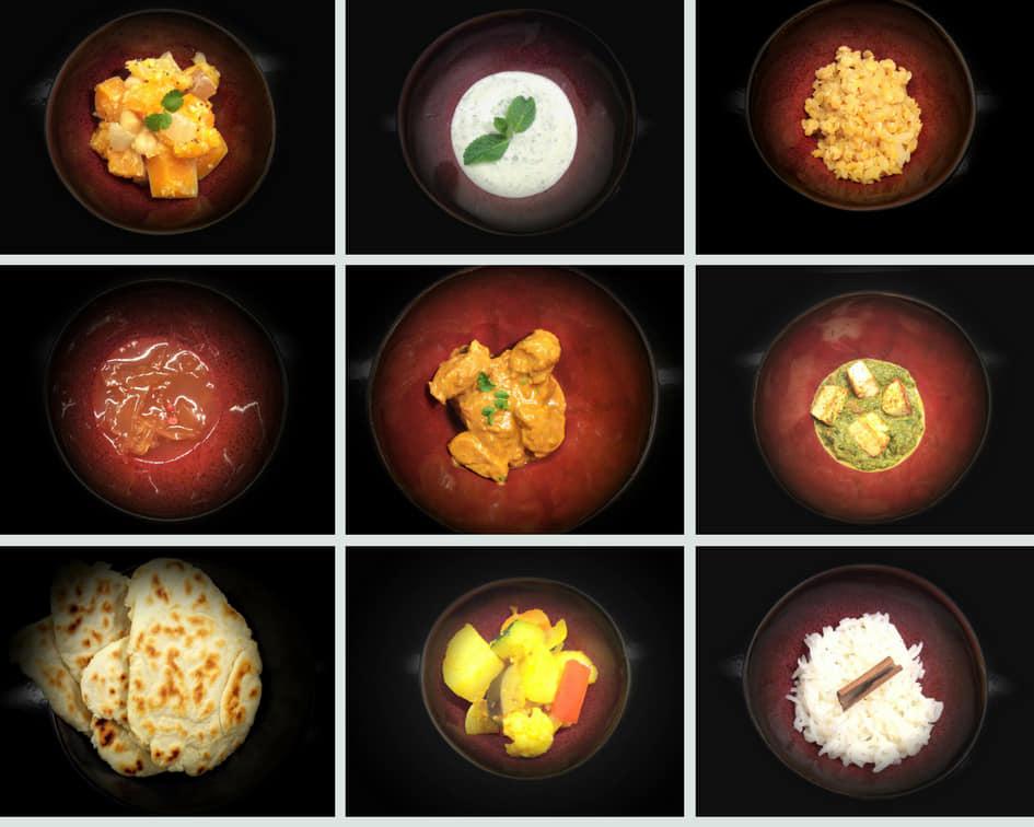 Image 9 carrés plats indiens poulet raïta yaourt épinards  sauce naan riz avec bâton de cannelle
