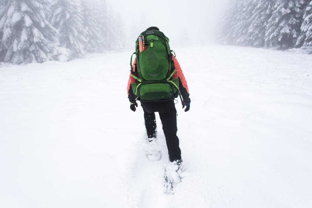 Homme marche dans la neige au milieu des sapins
