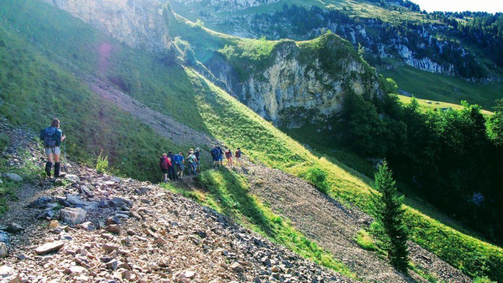 Personnes randonnées montagnes verdure sapin