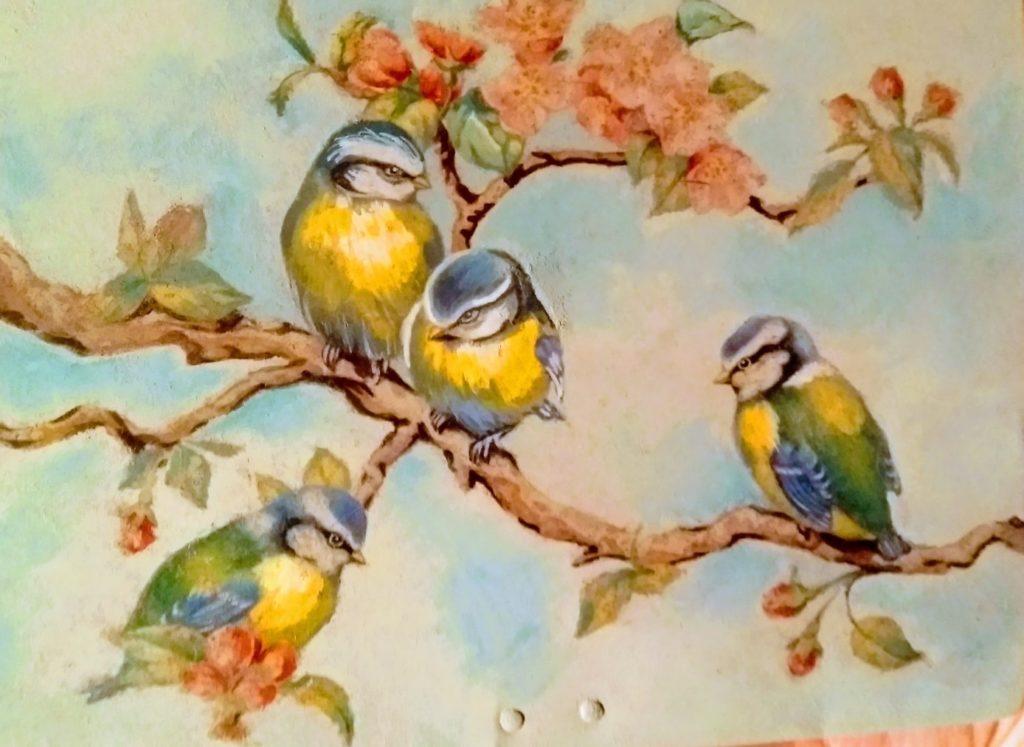Peinture oiseaux sur branche fleurie