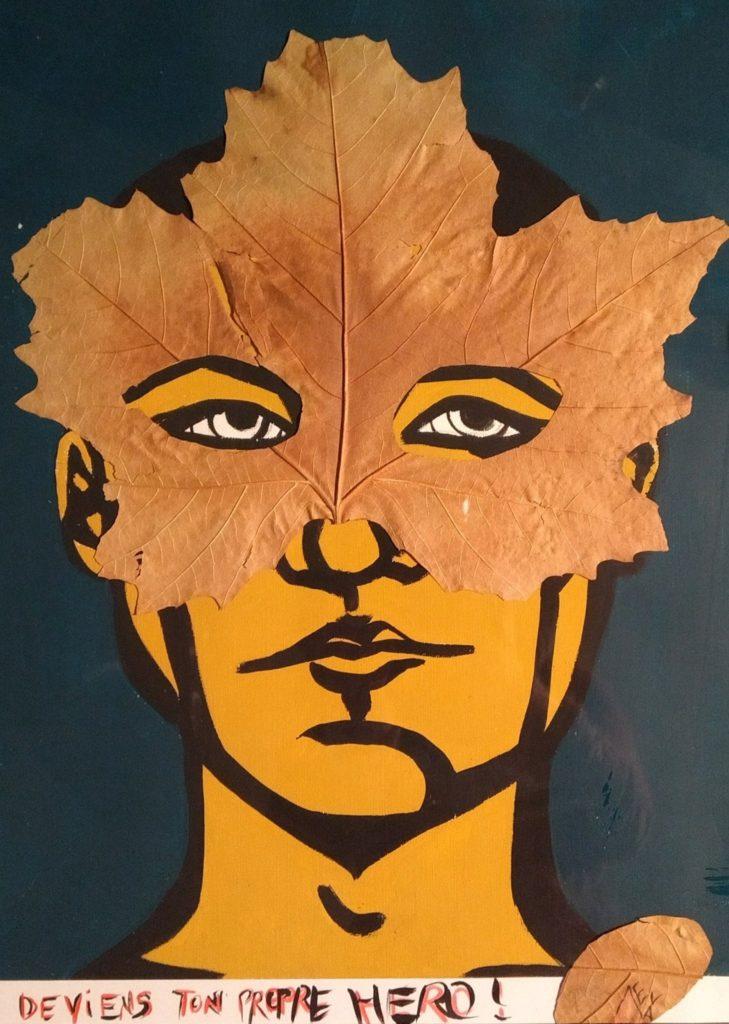 peinture fond bleu foncé visage jaune avec feuille dessus