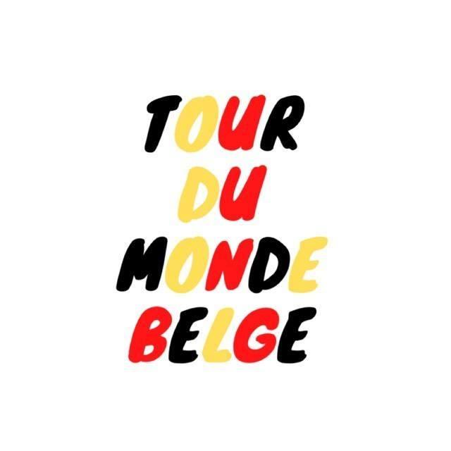 écriture noire jaune rouge tour du monde belge