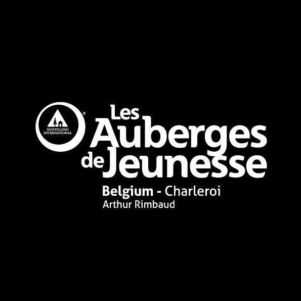 Logo auberge jeunesse Charleroi fond noir écriture blanche