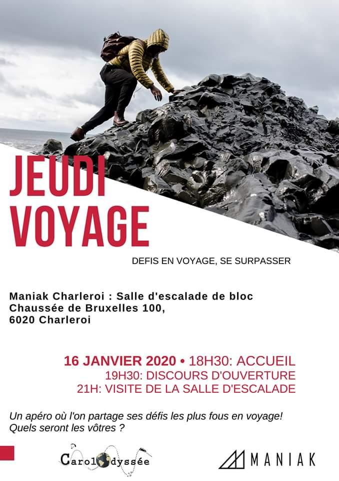 Affiche jeudi voyage homme grimpe montagne noir et blanc