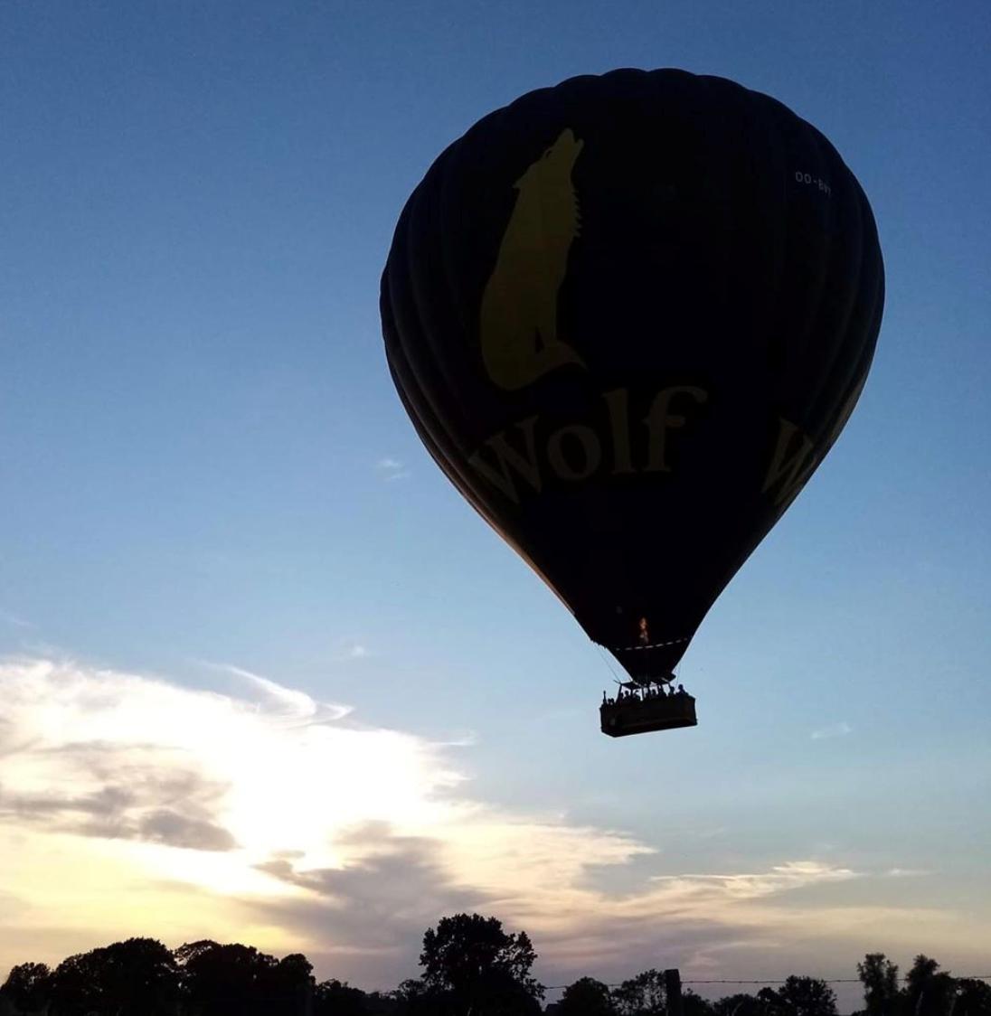 Montgolfière contre-jour vole dans le ciel