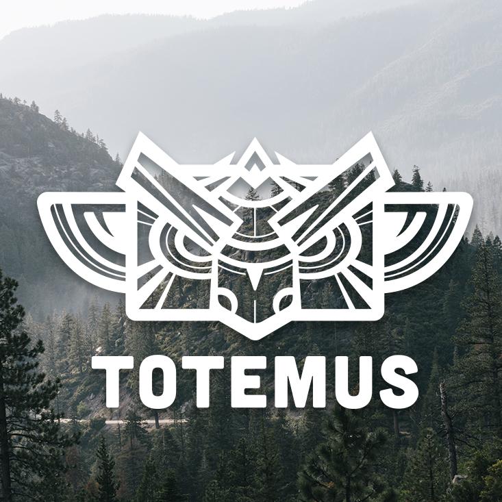 Logo Ttotemus totem blanc sur fond paysage montagne