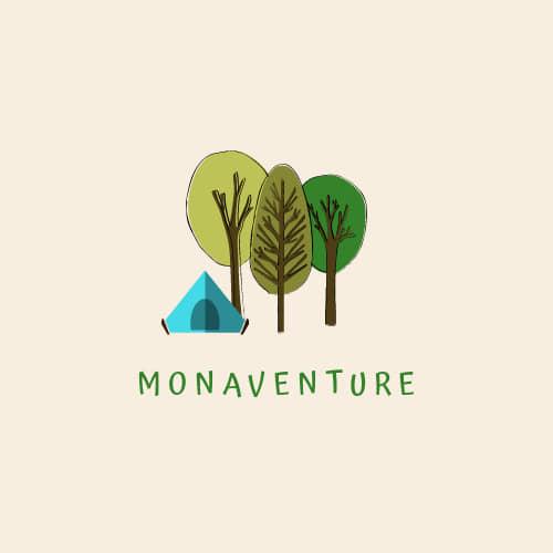 logo monaventure fond rose claire arbres dessinés et tente bleue