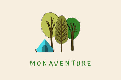 Logo mon aventure arbres tentes illustration sur fond rose