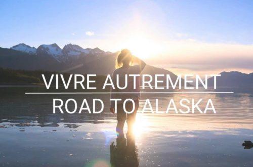 Image lac Alaska efemme debout couhcer soleil ecriture vivre autrement road to Alaska