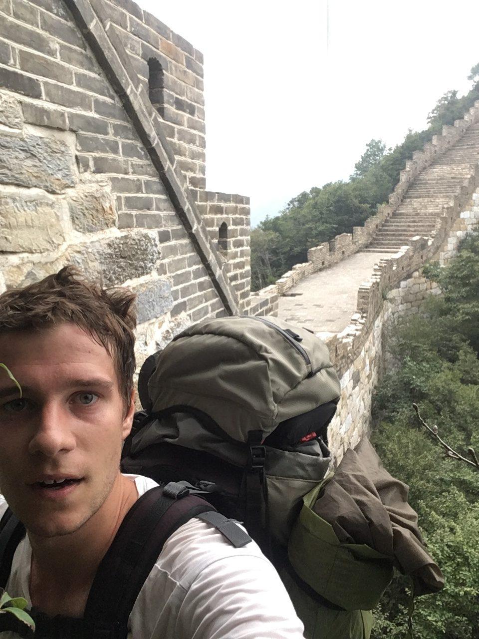 Nicolas selfie muraille de Chine