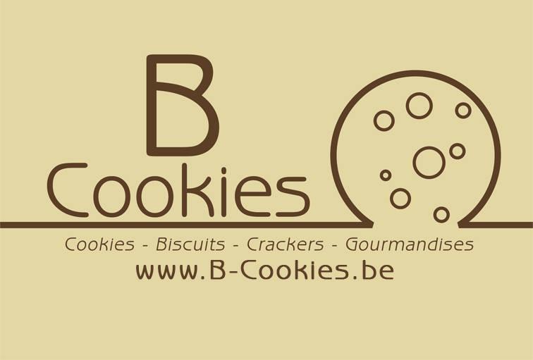 Logo b-cookie avec dessin de cookie en trait brun sur fond beige