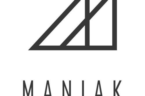 Logo Maniak deux montagnes traits noirs sur fond blanc