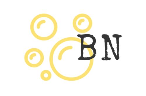logo bulle nature fond blanc BN écrit en noir et bulles contour orange