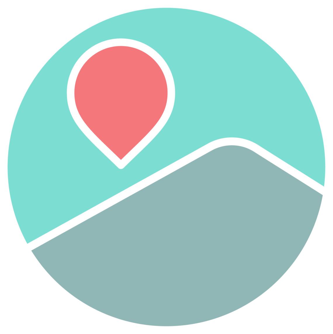 logo odysway vectorisé montagne grise ciel bleu montgolfière rouge