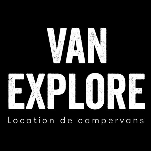 Logo Van explore écriture blanche sur fond noir