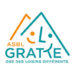 Logo gratte asbl montagnes trait orange et bleu