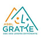 Logo gratte asbl montagnes trait orange et bleu